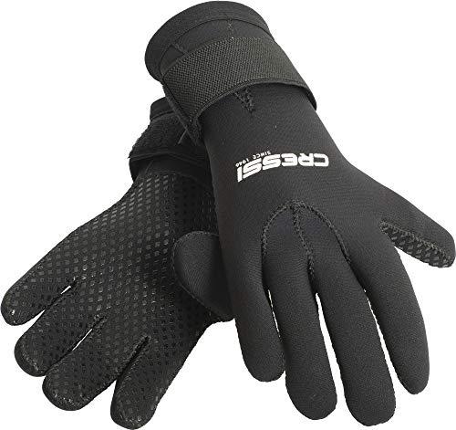Cressi Black Gloves Resilient, Guanto per attività Subacquee in Neoprene 3mm-Unisex Adulto, Nero, L