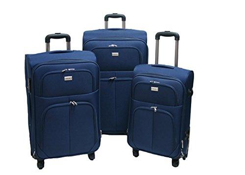 Trolley valigia set valigie semirigide set bagagli in tessuto super leggeri 4 ruote piroettanti...