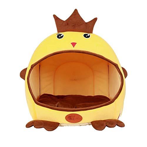 Emmala Haustier Hund Katze Bett Condo Casual Chic House Zwinger 2 In 1 Faltbar Abnehmbare Bett Kissen Mat Gelb Braun 16,92 X15.74 X16.14 (Color : Gelb, Size : L)