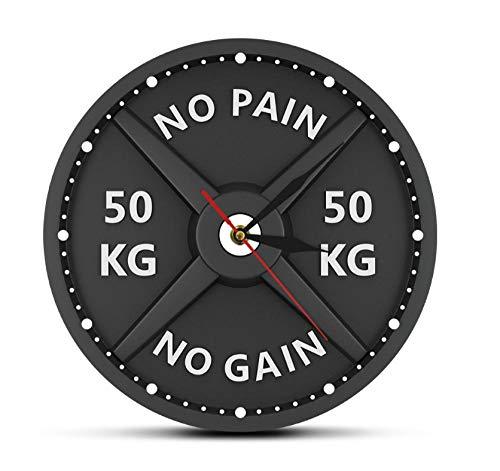 Djkaa No Dolore No Guadagno 50 kg Bilanciere 3D Orologio da Parete Moderno Sollevamento Pesi Manubrio Bodybuilding Orologio da Parete Palestra Allenamento Strongman Regalo 30 * 30 cm