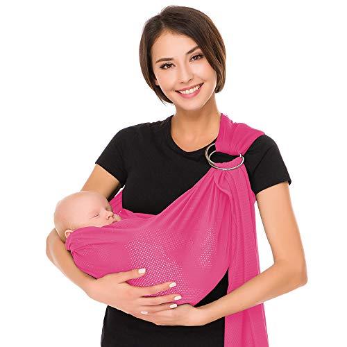 Écharpe de portage avec anneau d'ajustement - Porte-bébé ventral ou dorsal de marque CUBY -...