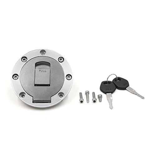 sourcing map 105mm Diámetro Metal Gris Tapón del Depósito de Gasolina para Moto ZB 2 Llaves