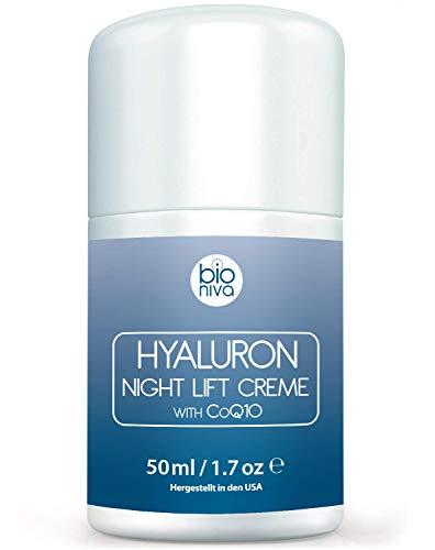 Crème de nuit d\'acide hyaluronique. Crème hydratante anti-âge et anti-rides grâce d\'ingrédients végans et naturels. Peptides, Hyaluron, CoQ10, AHA et Acide Glycolique. Pour hommes et femmes. 50 ml
