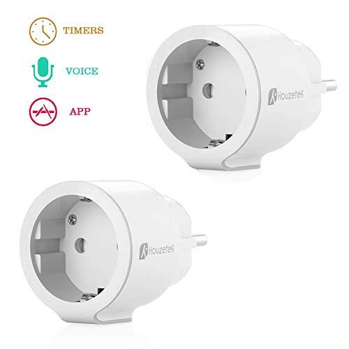 [2 Pezzi]Presa Intelligente, Houzetek Smart Wifi Plug con supporto APP Alexa/Google Home, Wifi programmabile Plug IFTTT Telecomando per voce, Smart Home Plug Wifi per casa