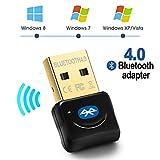 Maxesla Adattatore Bluetooth USB Bluetooth 4.0 Adattatore Plug And Play, 20M Bluetooth Trasmettitore e Ricevitore per Cuffie, Altoparlanti, Tastiera ect, Compatibile con Windows 10/8/7/XP/Vista Nero