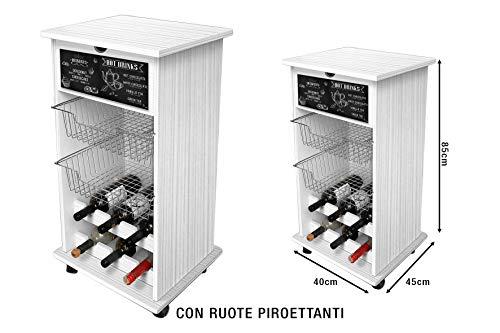 Lupia Carrello PORTAFRUTTA Lavagna con Ripiani PORTABOTTIGLIE CM.40X45X85H