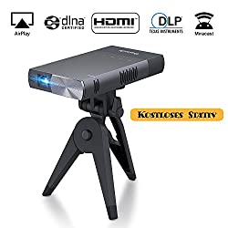 Kaufen Beamer DLP Mini Video Projektor Pico Tragbar, ExquizOn S1 5200mAh wiederaufladbar 100 Zoll, HDMI USB Micro-SD Audio, inkl. Stativ unterstützt 1080P für Handy Smartphone Heimkino PC Tablet Familie Party (Grau)