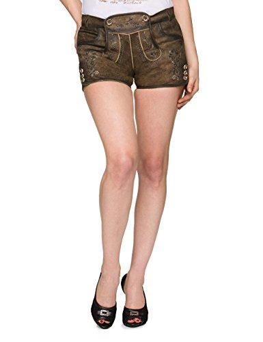 Stockerpoint Damen Trachten Lederhose Hose Rosy, Grau (Stein), 34
