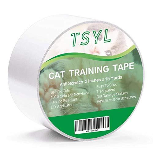 Nastro adesivo antigraffio per gatti per mobili protettivi Stop gatti Scratching Deterrente appiccicoso Protezione antigraffio per tappeti Tappeto Porta e divano trasparenti 3Inches x 15 Yards