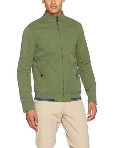 Tommy Jeans Uomo Basic Harrington Giacca Maniche lunghe  Verde (Four Leaf Clover) X-Large