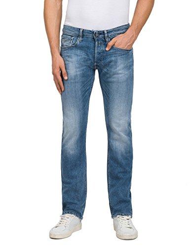 Replay Herren Straight Jeans Newbill, Blau (Mid Blue Denim 10),...