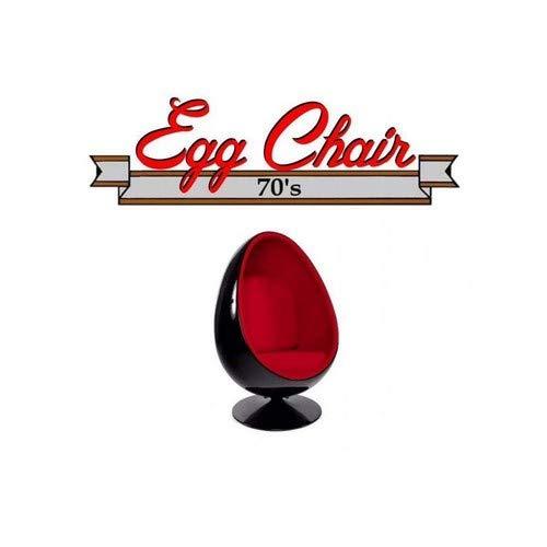 Poltrona Girevole Uovo, Egg Chair Cover Nero/Interno Velluto Rosso. Design 70's.
