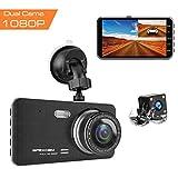 Caméra de Voiture, Apexcam Dashcam Double Objectif Voiture enregistreur de Conduite 4'IPS 1080P FHD 170 ° Grand Angle avec G-Sensor WDR, Surveillance du stationnement par DVR, détection de...