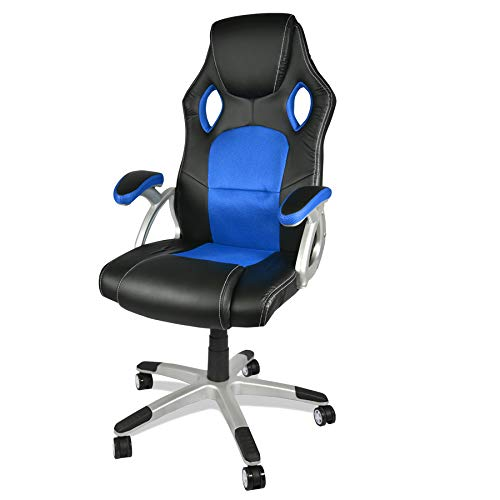 BOUDECH Sedia da Ufficio ergonomica Racing Gaming con braccioli Imbottiti - Poltrona Sportiva da scrivania con poggiatesta e Ruote girevoli. Disponibile in Vari Colori.