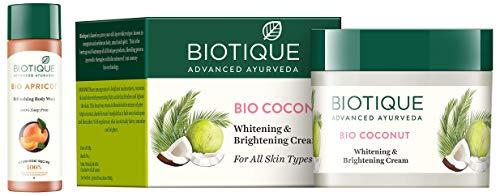 Biotique Bio Apricot Refreshing Body Wash, 190ml and Biotique Bio Coconut Whitening And Brightening Cream, 50g