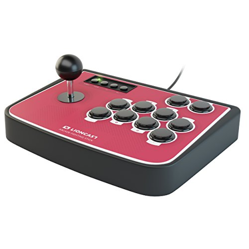 Lioncast Controller Joystick per Combattimento Arcade con Pulsanti Programmabili, Sanwa, Modalità Turbo / Rapida con Piedini in Gomma per PC / Sony PlayStation (PS2, PS3)