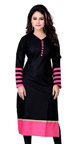 Sargam Fashion Women's Cotton Kurti (SARGAMDOTBLACK_Free Size Black)