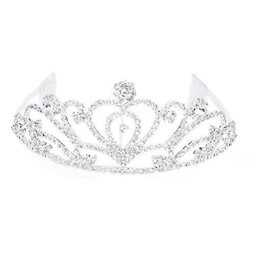 TOOGOO(R) Fashion Wedding Party Bride Crown Rhinestones Headband with Comb Tiara White