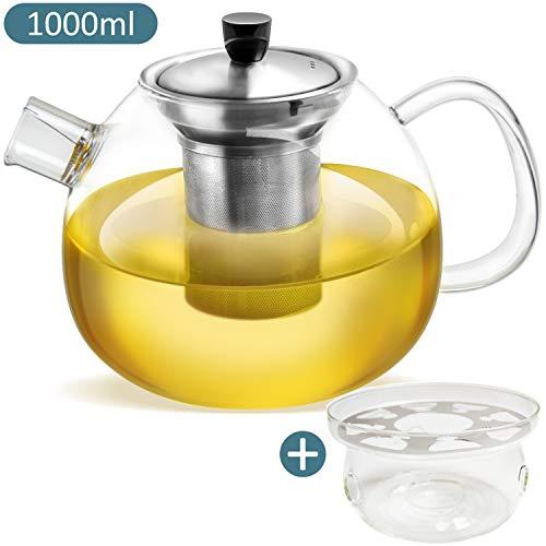 Tetera de vidrio - Capacidad 1000 ml - Filtro de acero inoxidable extraíble - Vidrio de borosilicato resistente al calor - Incluye Calentador de tazas de regalo