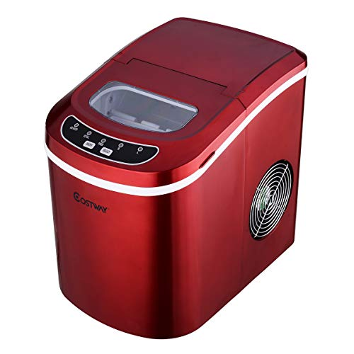 Machine à Glaçons Automatique avec Réservoir 2,2 Litres 9 Glaçons Par 6-13 Min Produire 12kg De Glace Par Jour Tension 230/50Hz en Rouge