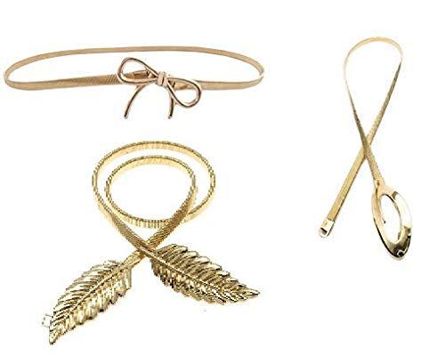 Satyam Kraft 3 Pcs Celebrity Inspired Golden Diva Golden Skinny Stretch Metal Belt set For Women/Girls (3 Pcs)