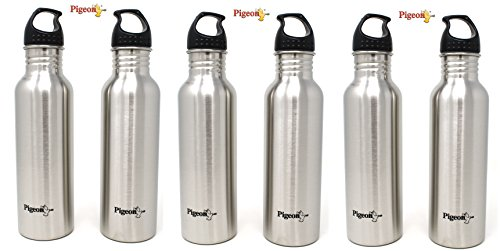 Pigeon Stainless Steel Water Bottle Set, 750ml, Set of 6, Silver