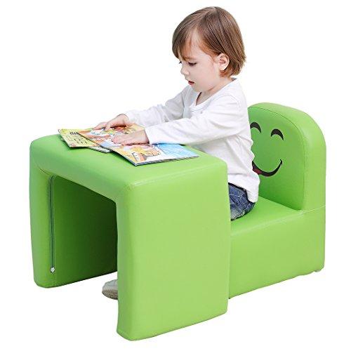 Emall Life Set tavolo e sedia multifunzionale per bambini, diventa una poltrona per bambini con divertente sorriso per maschietti e femminucce (Verde)
