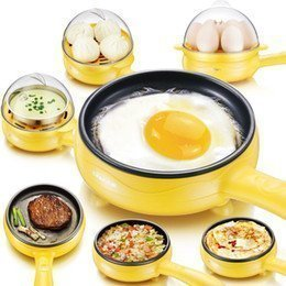 MOSHTU Multifunctional Electric 2 in 1 Plastic Frying Pan with Egg Boiler