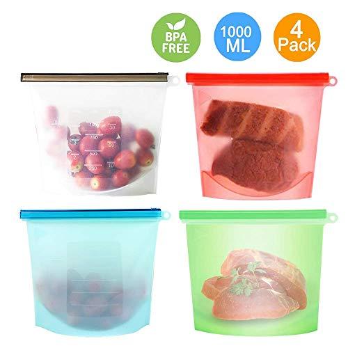 Silicone Alimentare Storage Bag,Sacchetti riutilizzabili per alimenti, 1 litro, in silicone,...
