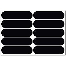 B REFLECTIVE, Kit de 10 Pegatinas Retro Reflectantes, Seguridad y Alta Visibilidad di Noche, Adhesivo Universal para Bicicleta/Cochecito/Casco/Moto/Motocicleta/Juguetes, 7 x 1,8 cm, Negro