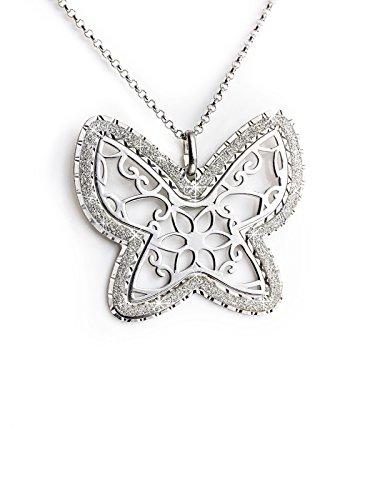 AKA Joyas - Colgante Mariposa y Brillo Collar Mujer Plata de Ley 925, Regalo Dia de la Madre