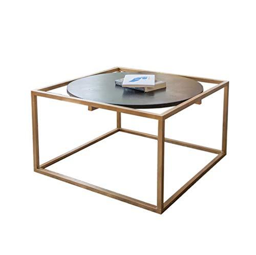 KJzhu Tavolino quadrato, soggiorno creativo multifunzione in ferro da stiro Tavolo da tè in legno...