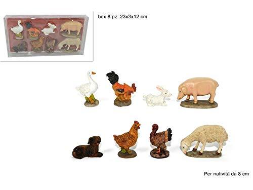Set 8 Pezzi Animali Presepe Decorazioni Natale 8 cm Fattoria Resina Statuine