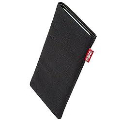 Kaufen fitBAG Rave Schwarz Handytasche Tasche aus Textil-Stoff mit Microfaserinnenfutter für Apple iPhone X/XS | Hülle mit Reinigungsfunktion | Made in Germany