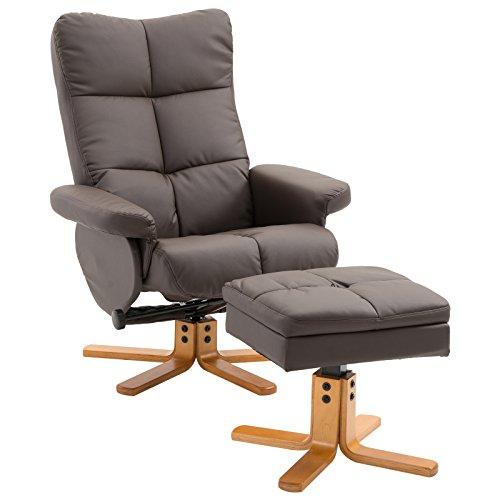 HOMCOM Relaxsessel Fernsehsessel Sessel mit Hocker Liegefunktion Holzgestell Braun 80 x 86 x 99cm