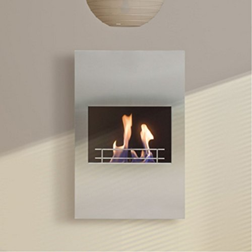 Persefone Wall Fireplace Bioethanol PURline® Brushed Steel and generous Height