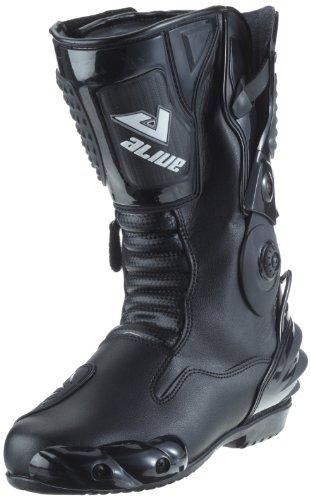 Protectwear TS-006-42 Motorradstiefel Racing aliue, Wasserabweisend aus schwarzem Leder mit aufgesetzten Hartschalenprotektoren, Größe 42, Schwarz