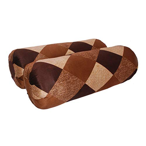 Mahi Homes Bolster Pillow Color Brown and Golden Size 22 x 7 Inches Pack of 2, Cotton Filled, Lite Weight Durable Compliment for Deewan and Sofa