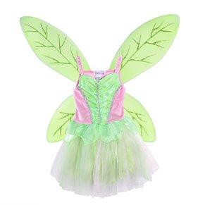 LUOEM Disfraz Hada Niña Alas de Hada Mariposa y Vestido Disfraz Campanilla Niña Verde Rosa Talla M 110-125cm
