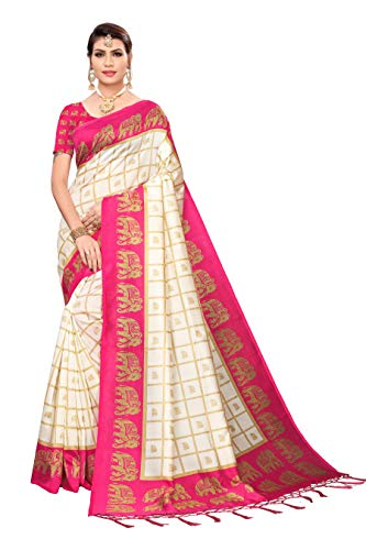 ANNI DESIGNER silk with Blouse Piece Saree ELEPHANT-PINK Free Size
