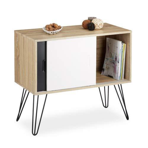 Relaxdays Credenza armadietto retrò, design anni '60, legno e metallo, stile nordico scandinavo...