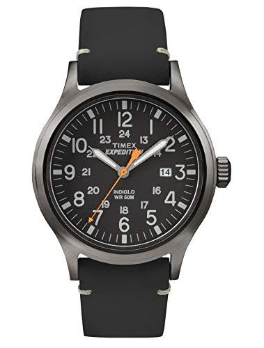Timex TW4B01900 Orologio da Polso, Quadrante Analogico da Uomo, Cinturino in Pelle, Grigio Fumo/Nero