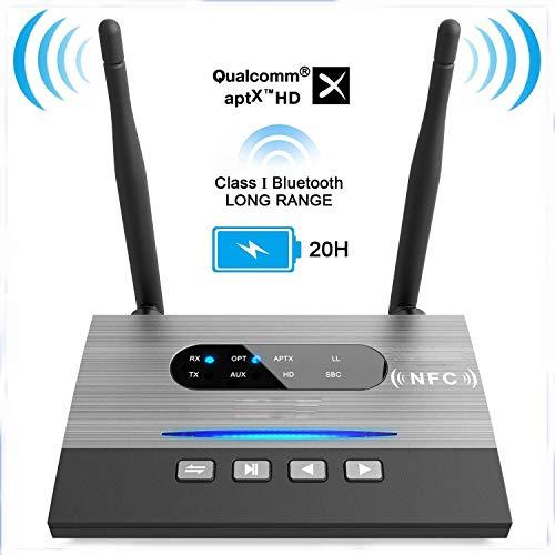 DragonPad NFC 262ft/80m Long Range Bluetooth 5.0 Transmitter Receiver 3in1 Music Audio Adapter Low Latency aptX HD Spdif RCA AUX 3.5mm TV