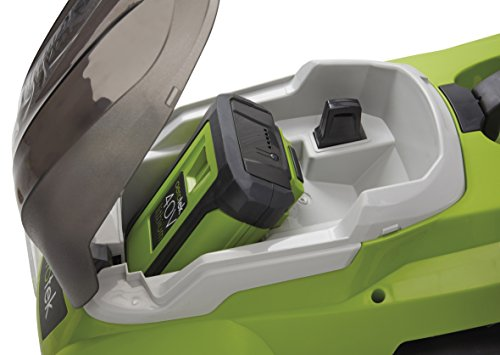 Aerotek Cordless Lawnmower 40V Lithium-Ion 4Ah Battery & Charger Included Cutting Width 40cm Series X2 battery compartment