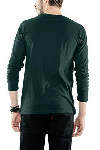 Bewakoof Pine Green Mens Cotton Plain Full Sleeve T Shirts