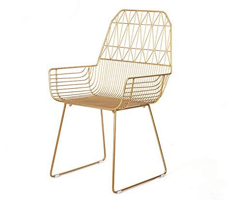 Tavolo da Pranzo e sedie da Esterno in Ferro battuto Poltrona in Ferro Poltrona Creativa Nuova, Oro, 92 * 52 * 45cm