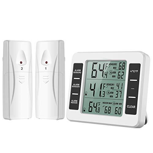 Oria [Nuova Versione] Termometro per Frigorifero, Termometro Digitale per Interno/Esterno Senza Fili...