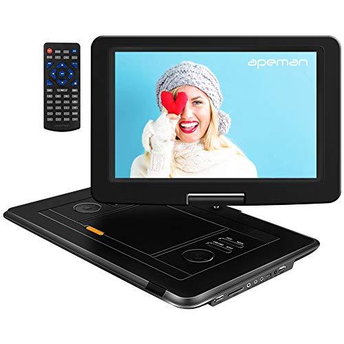 APEMAN Tragbarer DVD Player Auto 15,5\'\' mit Eingebautem 6000mAh Portable CD Player 6 Stunden Akku HD Display Unterst¨¹tzt SD/USB/AV Out/IN Spiele Joystick(schwarz)