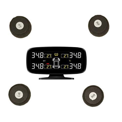 Henhaoro Wireless Real-Time Monitoring Tpms with 3Inch Led Display, 4 External Sensors Digital Tire Pressure Guage