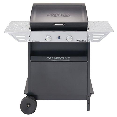 Campingaz Barbecue à gaz Xpert 200 L Vario, Barbecue Compact 2 brûleurs, Puissance 7.1kW, Grille plancha en Acier, 2 tablettes latérales Chariot en Acier